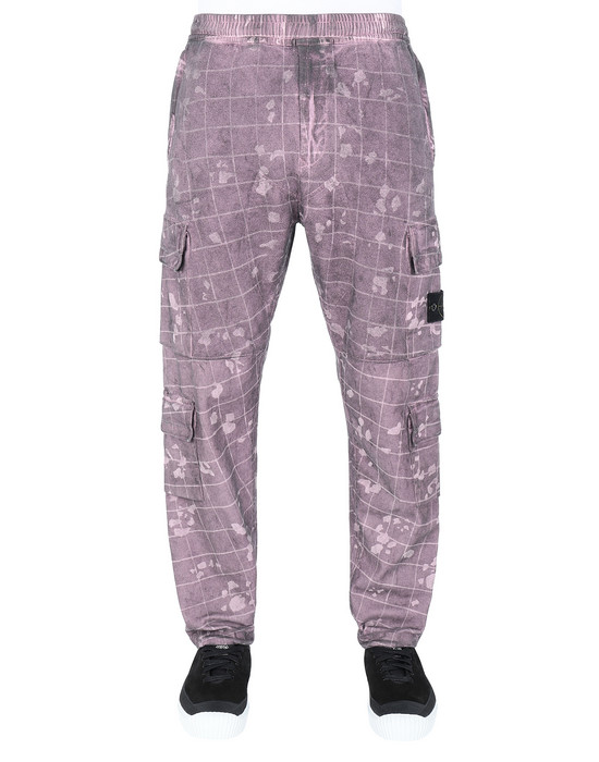 Trousers Man 317E2 DUST COLOUR WITH GHILLIE LASER CAMO Front STONE ISLAND