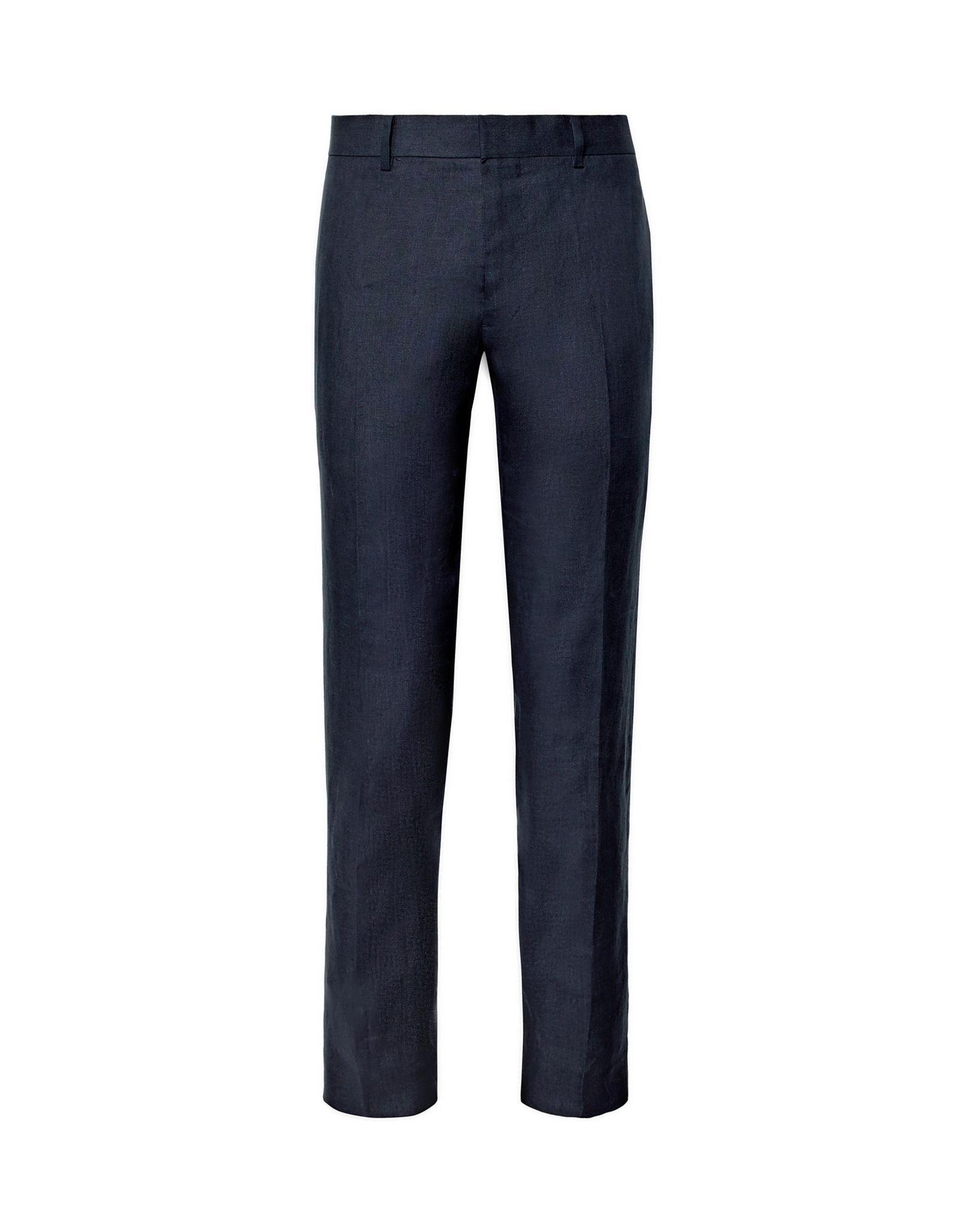 CLUB MONACO Casual pants. plain weave, basic solid color, no appliqués, mid rise, regular fit, tapered leg, hook-and-bar, zip, multipockets. 100% Linen