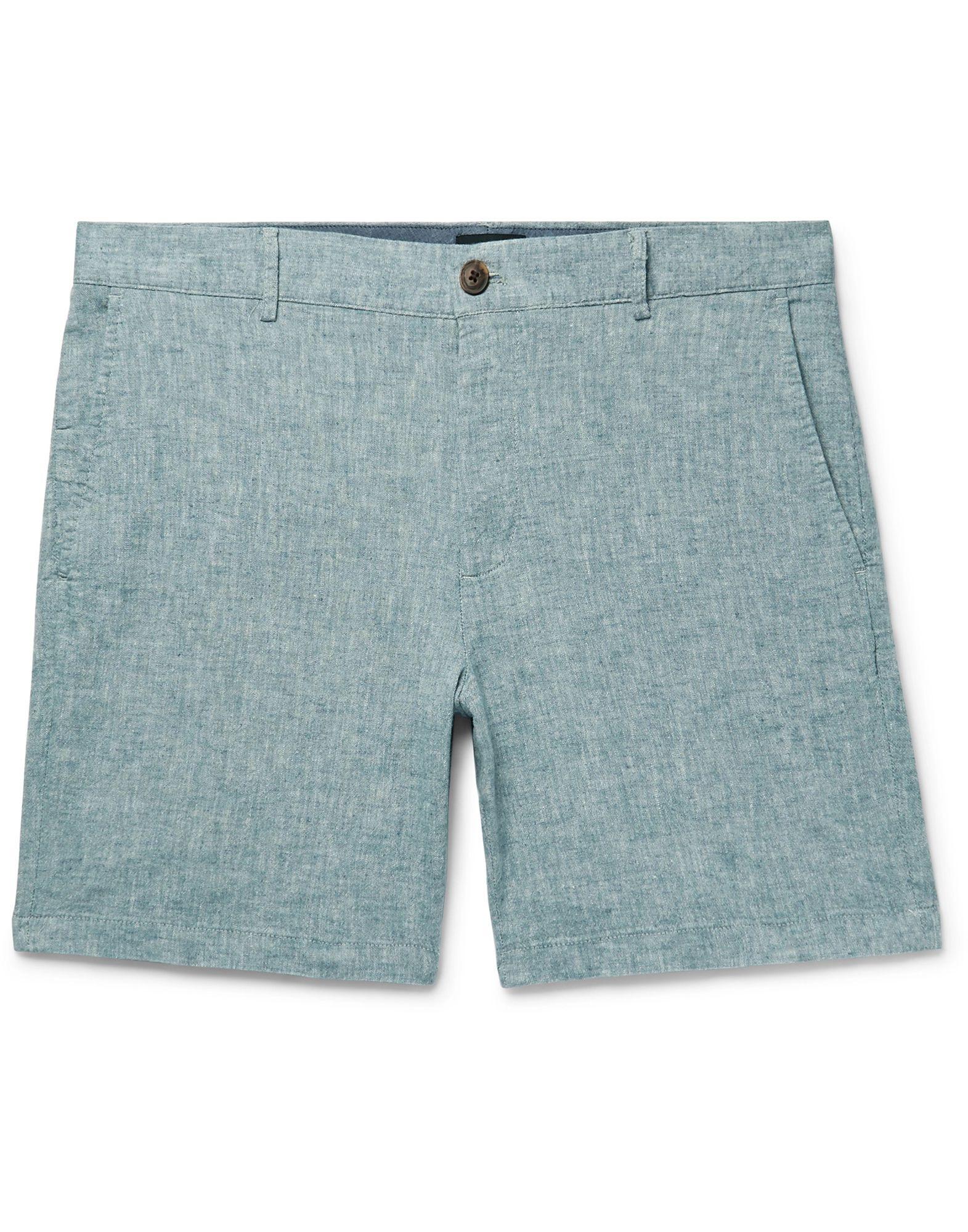 CLUB MONACO Bermudas. plain weave, two-tone, no appliqués, high waisted, button, zip, multipockets, stretch. 54% Linen, 44% Cotton, 2% Elastane