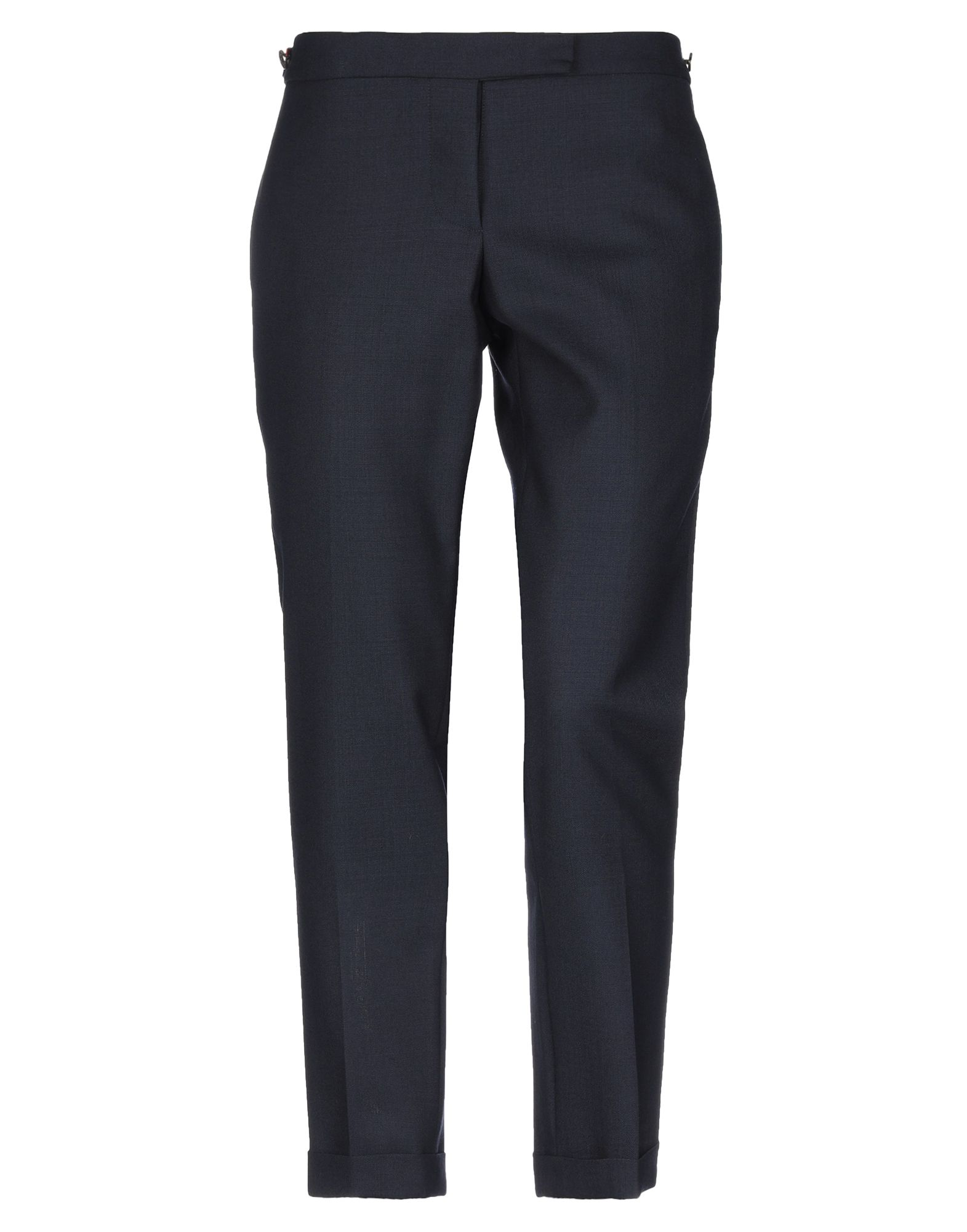 THOM BROWNE Casual pants. cool wool, basic solid color, no appliqués, low waisted, regular fit, tapered leg, button closing, multipockets, cuffed hems. 100% Wool