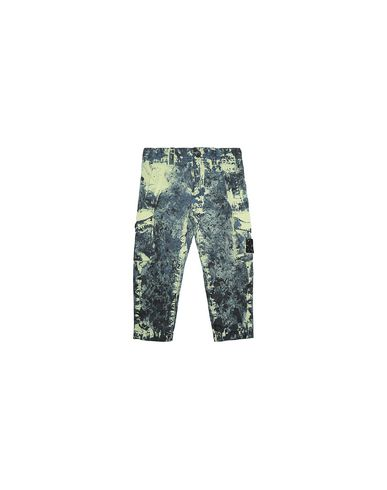 STONE ISLAND BABY 30638 PAINTBALL CAMO COTTON CANVAS Pants Man Avio Blue USD 290