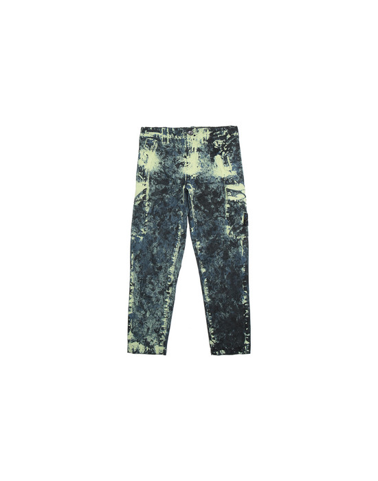 STONE ISLAND JUNIOR 30638 PAINTBALL CAMO COTTON CANVAS 팬츠 남성 아비오 블루