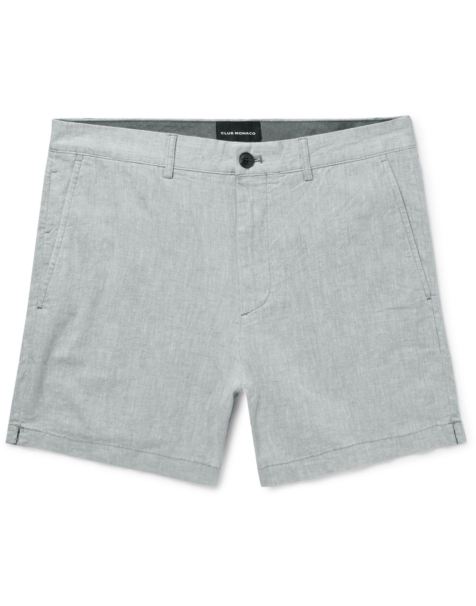 CLUB MONACO Shorts. plain weave, solid color, no appliqués, mid rise, regular fit, tapered leg, button, zip, multipockets, stretch. 54% Linen, 44% Cotton, 2% Elastane