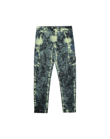 STONE ISLAND JUNIOR 30638 PAINTBALL CAMO COTTON CANVAS Trousers Man Avio Blue EUR 224