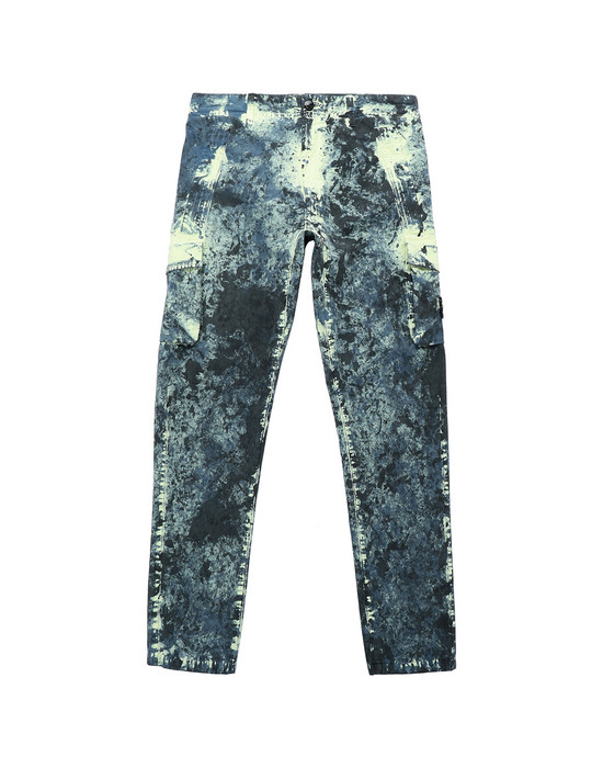 STONE ISLAND JUNIOR 30638 PAINTBALL CAMO COTTON CANVAS Pantalón Hombre Azul grisáceo