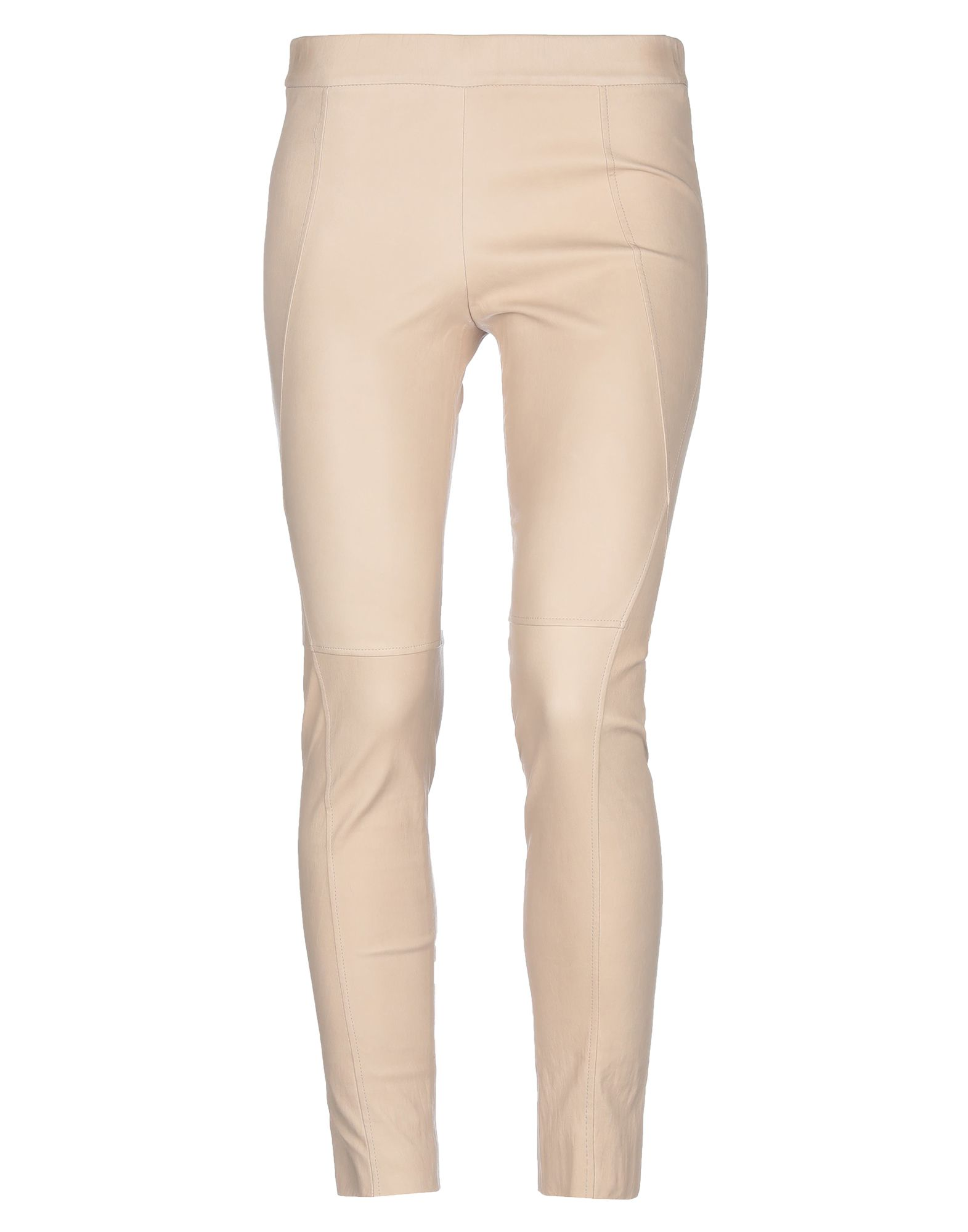 BRUNELLO CUCINELLI Leggings. leather, basic solid color, stitching, mid rise, slim fit, tapered leg, no pockets, contains non-textile parts of animal origin. Soft Leather