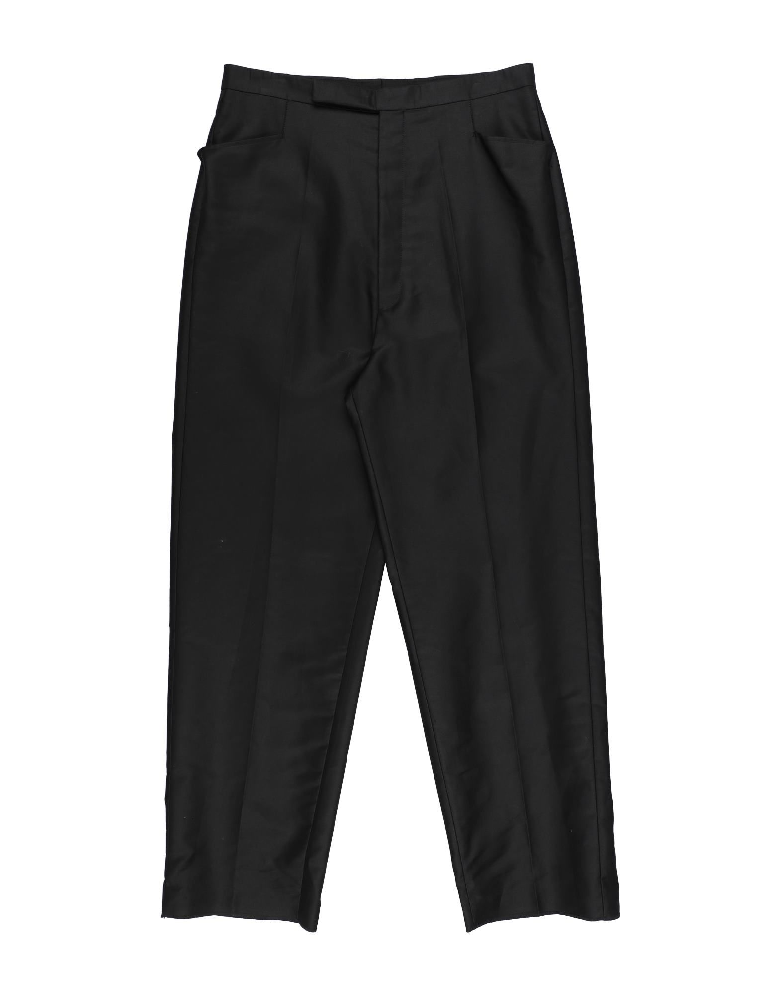 RICK OWENS Casual pants. plain weave, basic solid color, no appliqués, high waisted, regular fit, tapered leg, button closing, multipockets, large sized. 100% Cotton