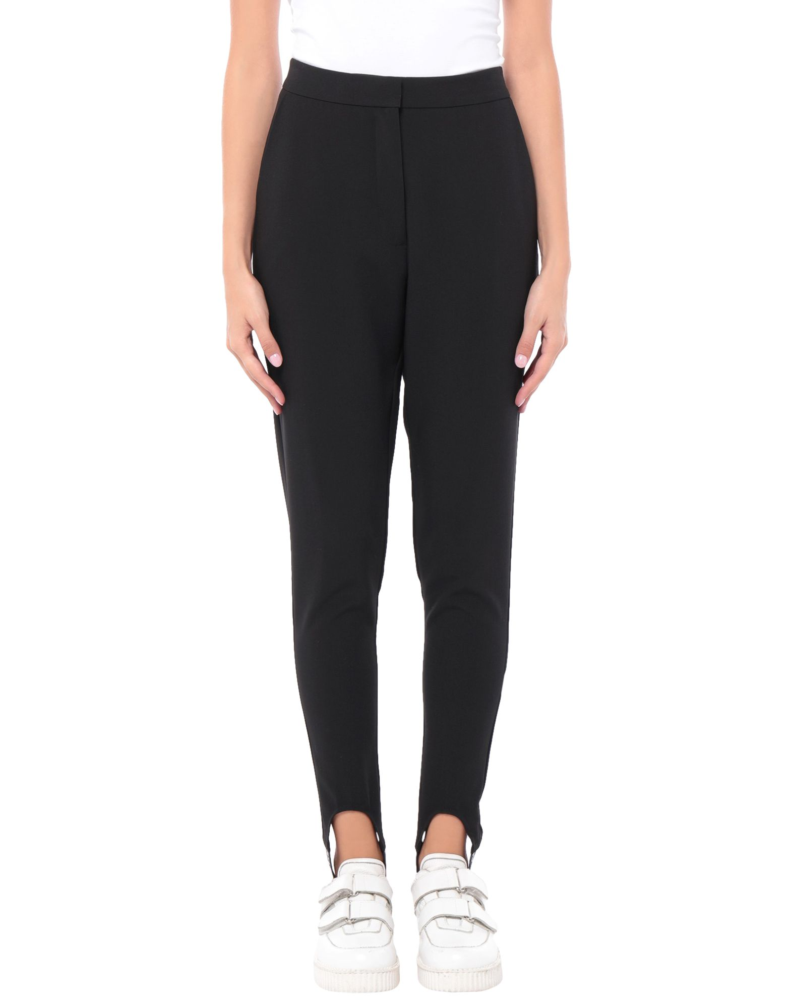 ASH STUDIO PARIS Casual pants. plain weave, basic solid color, logo, high waisted, regular fit, tapered leg, hook-and-bar, zip, multipockets, with elastic bottom, stretch. 74% Polyester, 20% Rayon, 6% Elastane