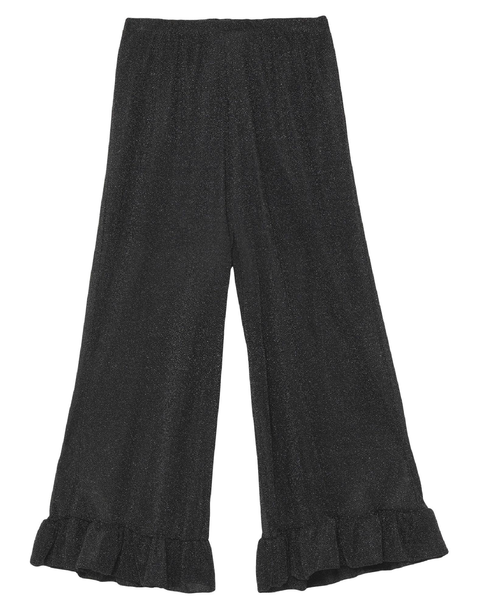 LUCE Casual pants. jersey, lamé, solid color, ruffles, high waisted, regular fit, flare & wide-leg, elasticized waist, no pockets. 70% Polyamide, 30% Metallic fiber