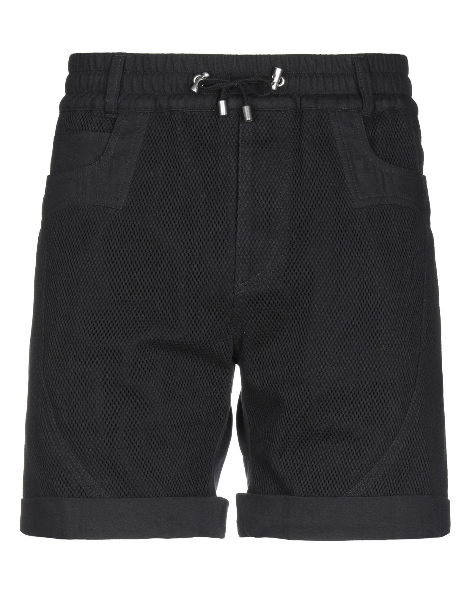 BALMAIN Bermudas. plain weave, jersey, no appliqués, low waisted, comfort fit, tapered leg, drawstring closure, multipockets, basic solid color. 100% Cotton