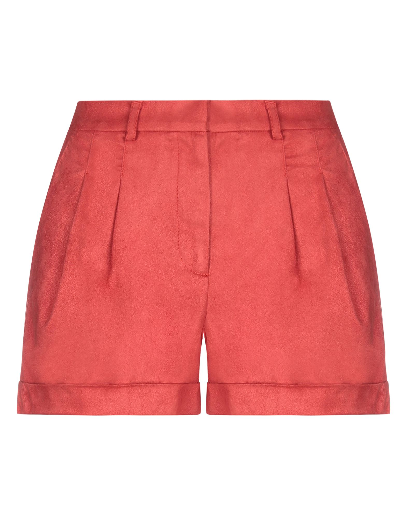 PHILOSOPHY di LORENZO SERAFINI Shorts. synthetic fibre, basic solid color, suede effect, folds, high waisted, hook-and-bar, zip, multipockets, cuffed hems. 100% Polyester