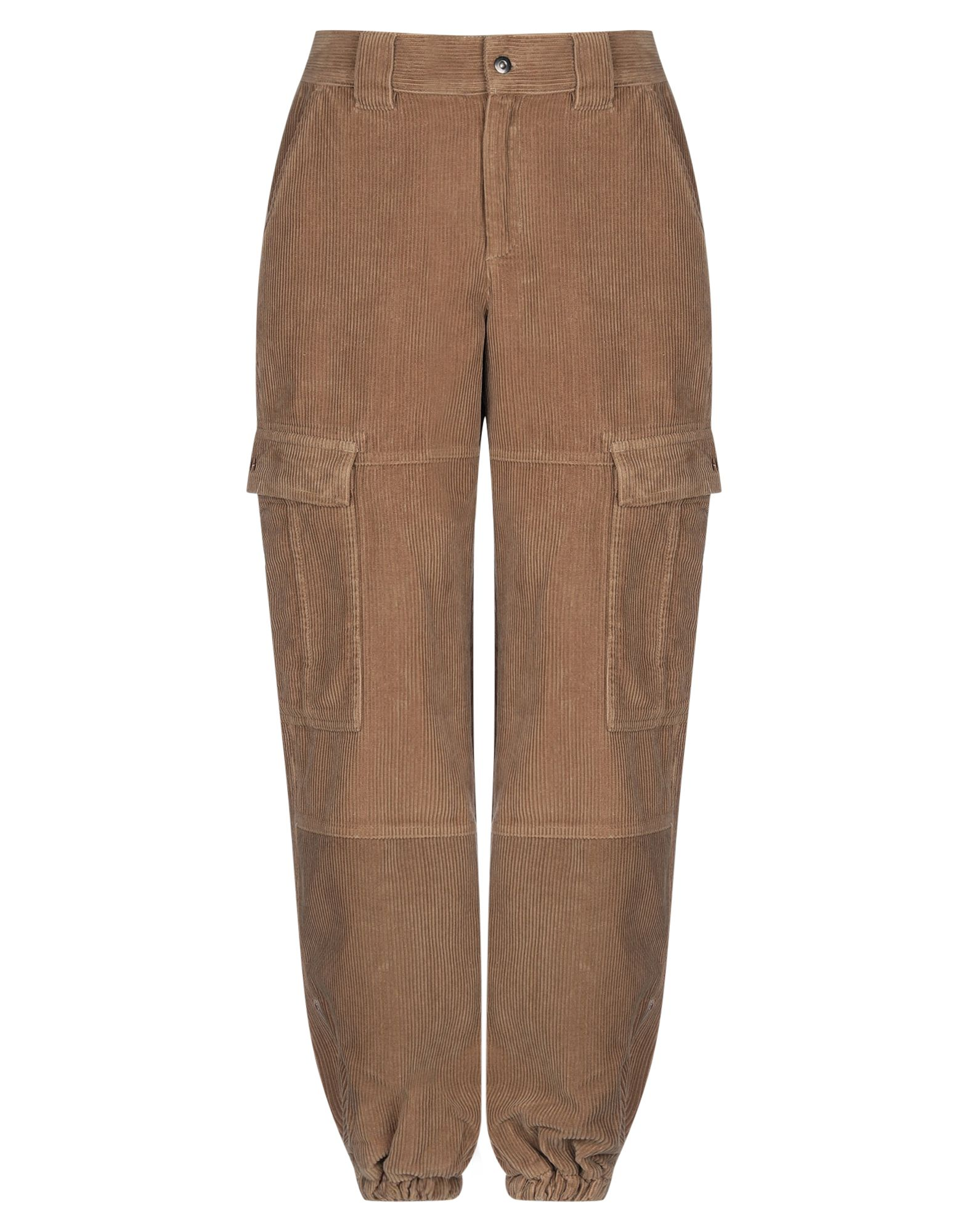 H2OFAGERHOLT Casual pants. velvet, ribbed, basic solid color, logo, high waisted, regular fit, tapered leg, button, zip, multipockets, zips at hem. 100% Cotton