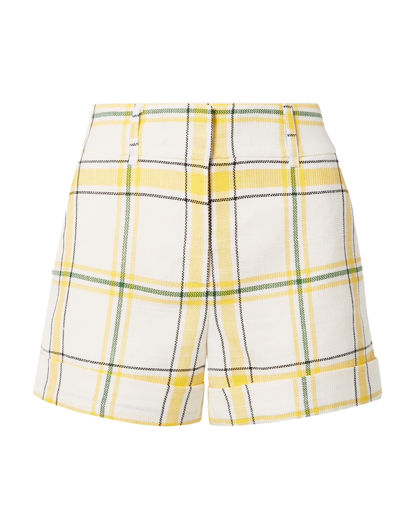 VERONICA BEARD Shorts. plain weave, no appliqués, mid rise, hook-and-bar, zip, multipockets, cuffed hems, fully lined, tartan plaid. 89% Viscose, 11% Polyester