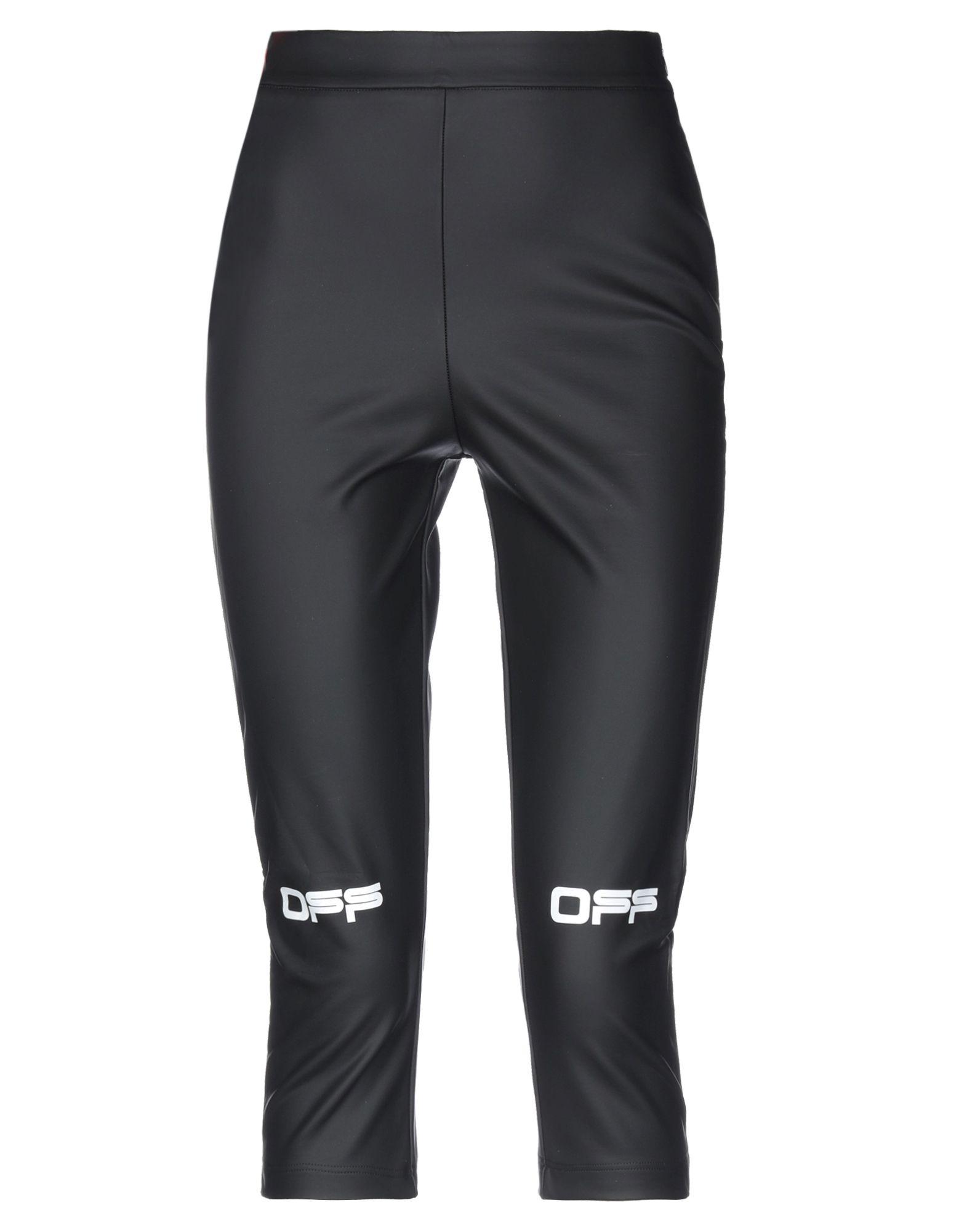 OFF-WHITE™ Leggings. faux leather, solid color, logo, print, mid rise, slim fit, straight leg, zipper closure, no pockets, stretch. 70% Viscose, 15% Polyurethane, 10% Polyamide, 5% Elastane