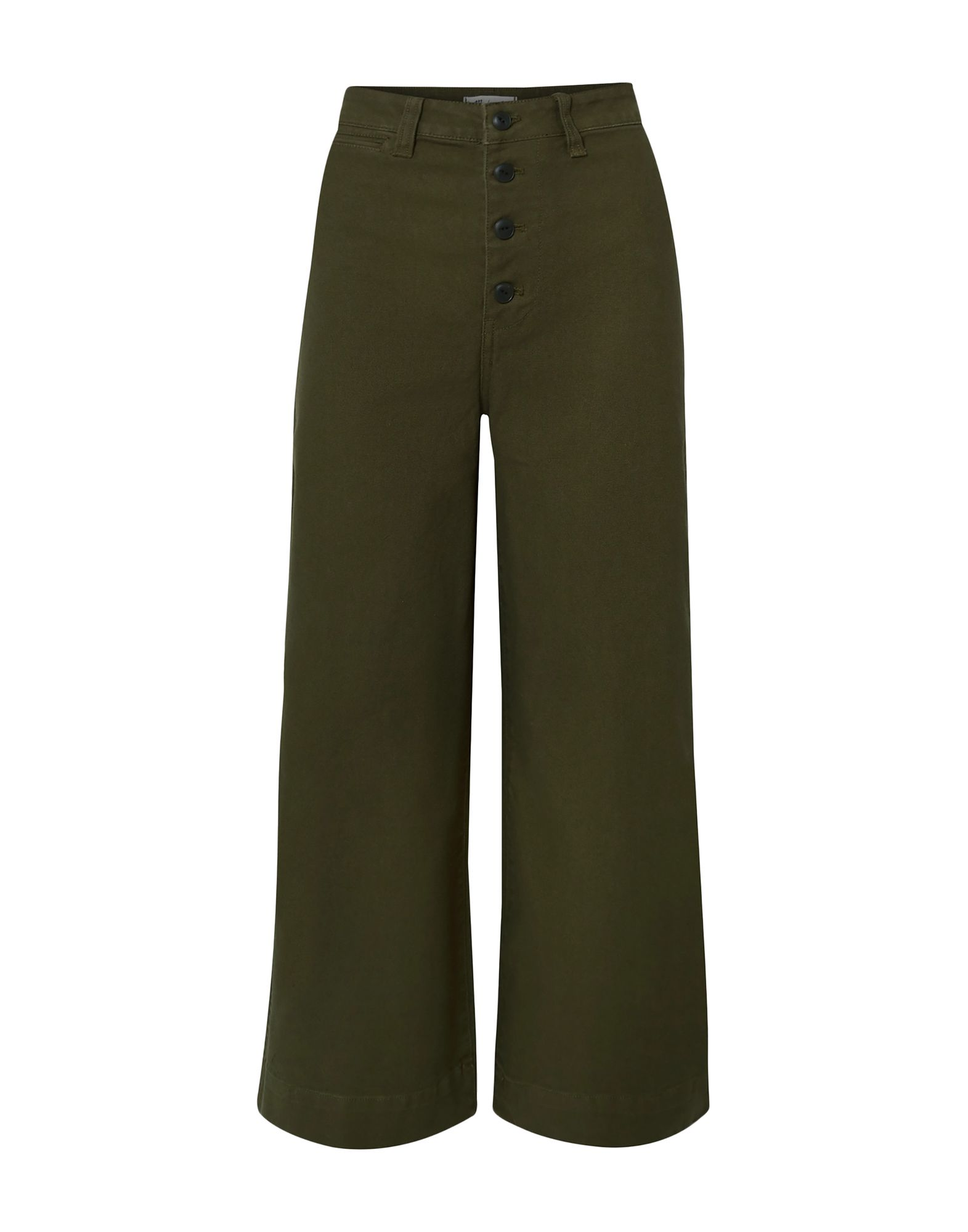 MADEWELL Casual pants. plain weave, basic solid color, darts, high waisted, regular fit, wide leg, button closing, multipockets, stretch. 98% Cotton, 2% Elastane