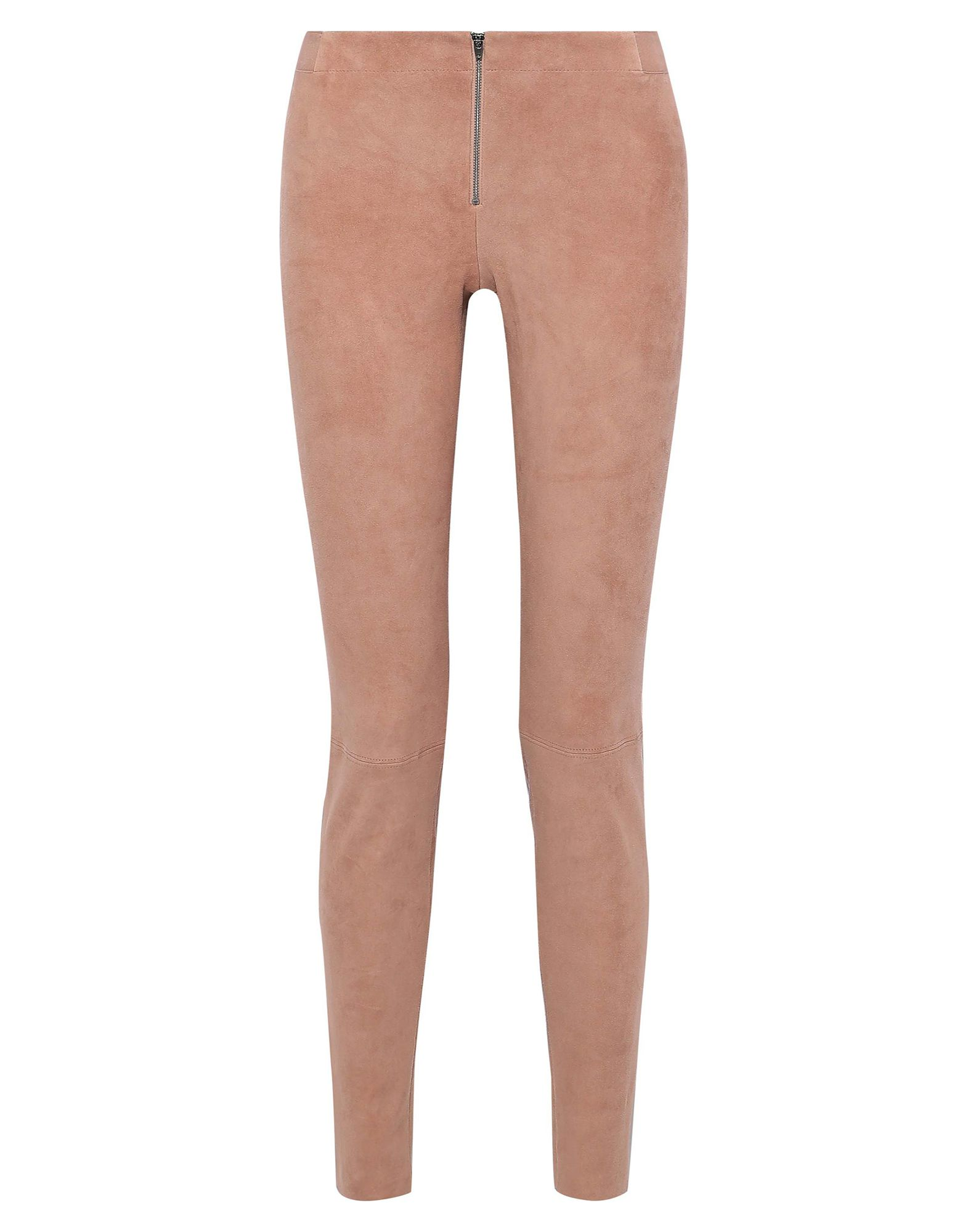 ALICE + OLIVIA Leggings. leather, solid color, no appliqués, low waisted, slim fit, straight leg, zipper closure, no pockets, raw-cut hem, contains non-textile parts of animal origin, suede effect. 100% Lambskin, Sheepskin