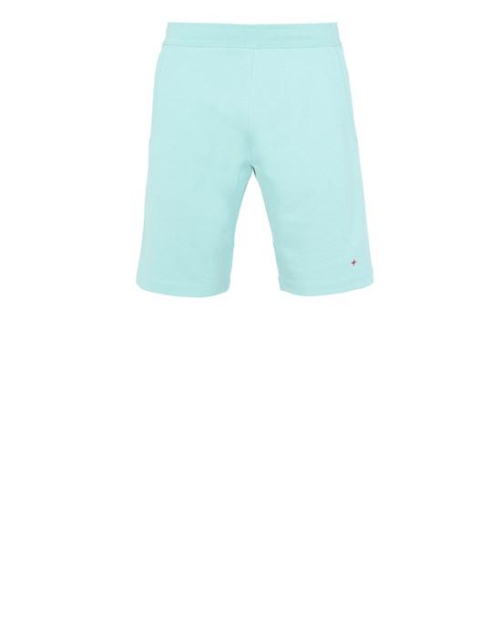 STONE ISLAND 640X2 STONE ISLAND MARINA<br>COTTON/POLYESTER SEAQUAL® YARN FLEECE Fleece Bermuda Shorts Man Aqua