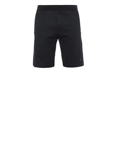 STONE ISLAND 640X2 STONE ISLAND MARINA<br>COTTON/POLYESTER SEAQUAL® YARN FLEECE Fleece Bermuda Shorts Man Black USD 245