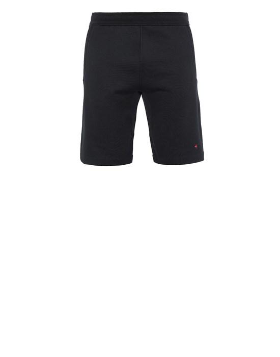 STONE ISLAND 640X2 STONE ISLAND MARINA<br>COTTON/POLYESTER SEAQUAL® YARN FLEECE Fleece Bermuda Shorts Man Black