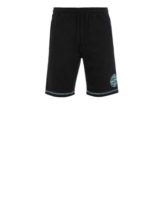 STONE ISLAND 61259 Fleece Bermuda Shorts Man Black