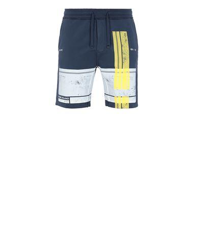 STONE ISLAND 66596 'BLOCK SHORTS'  Fleece Bermuda Shorts Man Avio Blue EUR 229