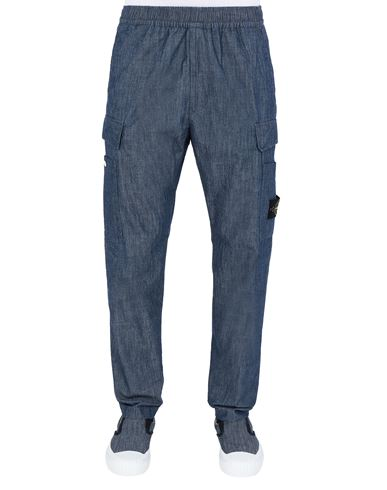 STONE ISLAND 31107 CHAMBRAY CANVAS  Pants Man Wash USD 302