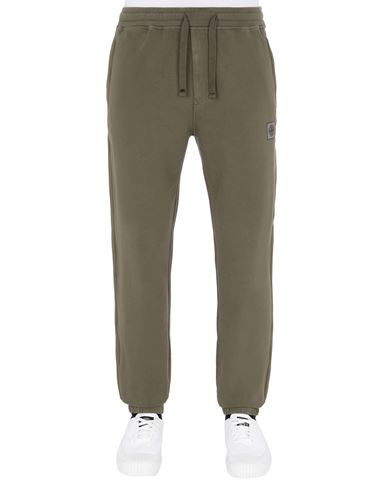 STONE ISLAND 64937 Fleece Trousers Man Olive Green EUR 245