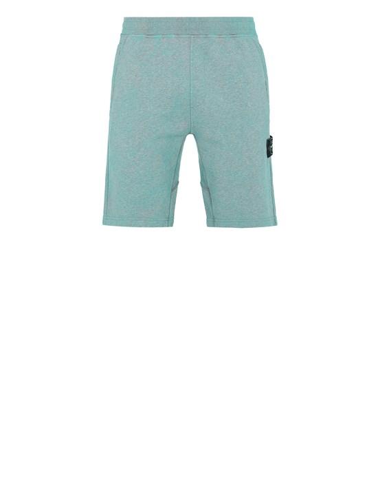 STONE ISLAND 63690 DUST COLOUR TREATMENT  Fleece Bermuda Shorts Man AQUA MELANGE