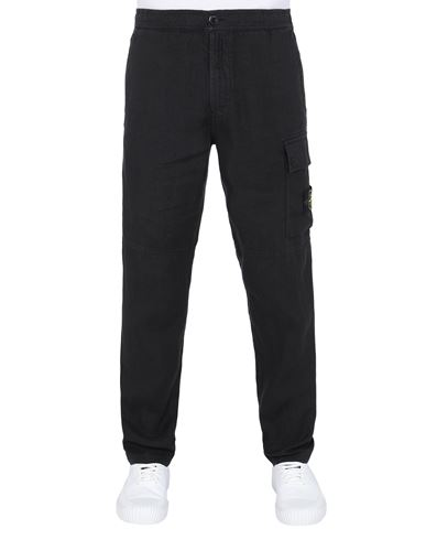 STONE ISLAND 31601 'FISSATO' TREATMENT Pants Man Black USD 256