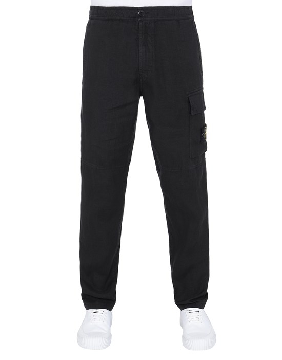 STONE ISLAND 31601 'FISSATO' TREATMENT Trousers Man Black