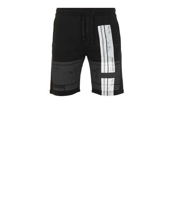 STONE ISLAND 66596 'BLOCK SHORTS'  Fleece Bermuda Shorts Man Black