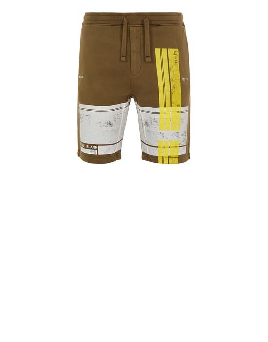 STONE ISLAND 66596 'BLOCK SHORTS'  Fleece Bermuda Shorts Man Olive Green