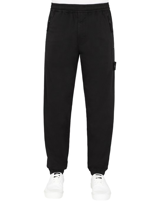 STONE ISLAND 317F2  GHOST PIECE_STRETCH COTTON WOOL SATIN  Trousers Man Black