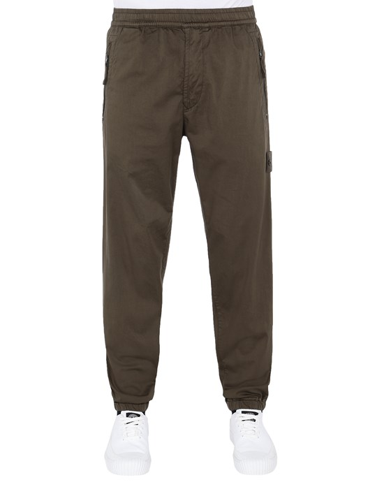 STONE ISLAND 317F2  GHOST PIECE_STRETCH COTTON WOOL SATIN  Pants Man Military Green