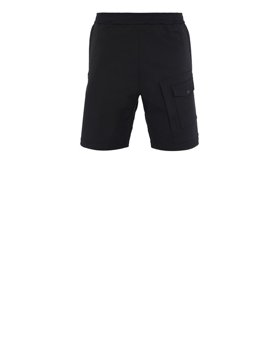 STONE ISLAND L15X4 STONE ISLAND MARINA<br>TWO WAYS STRETCH RECYCLED NYLON TWIL Bermuda Man Black