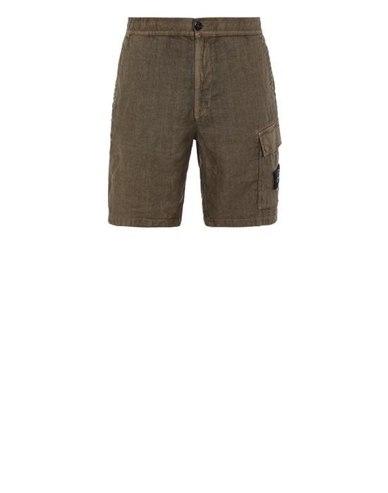 Sold out - STONE ISLAND L1201 'FISSATO' TREATMENT  Bermuda shorts Man Olive Green
