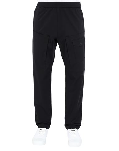 STONE ISLAND 312X4 STONE ISLAND MARINA<br>TWO-WAY STRETCH RECYCLED NYLON TWILL Pants Man Black EUR 243