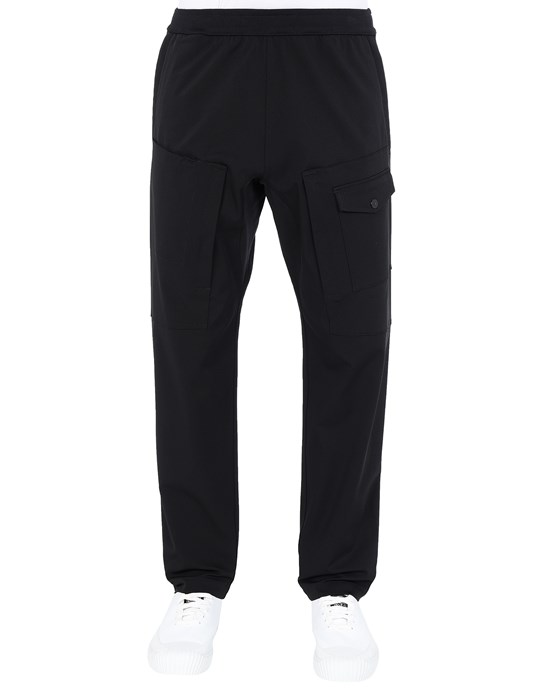 STONE ISLAND 312X4 STONE ISLAND MARINA<br>TWO-WAY STRETCH RECYCLED NYLON TWILL Trousers Man Black
