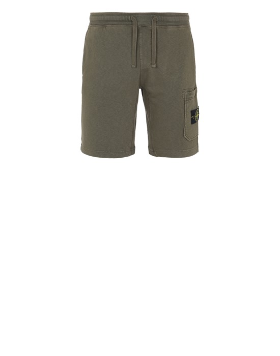 Fleece Bermuda Shorts Man 63560 T.CO 'OLD' Front STONE ISLAND