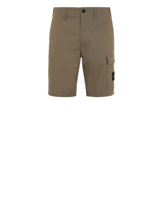STONE ISLAND L1006 O-COTTON/R-NYLON TELA Bermuda shorts Man Olive Green