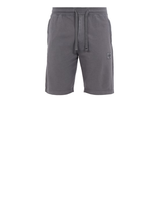 STONE ISLAND 65137 Fleece Bermuda Shorts Man Blue Grey