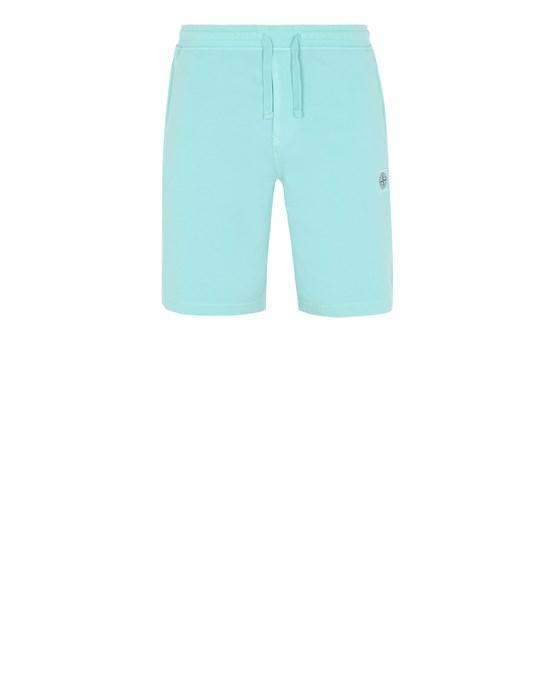 STONE ISLAND 65137 Fleece Bermuda Shorts Man Aqua