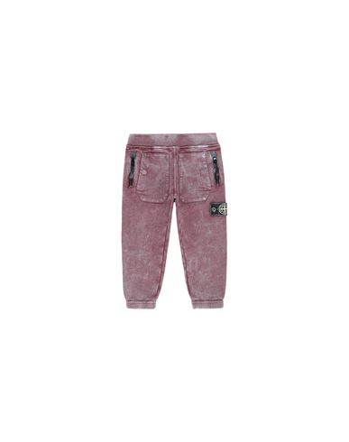STONE ISLAND BABY 60941 DUST COLOUR Fleece Pants Man Dark Burgundy EUR 105