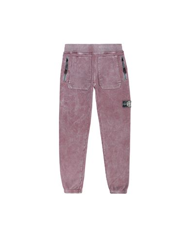 STONE ISLAND JUNIOR 60941 DUST COLOUR Fleece Trousers Man Dark Burgundy EUR 144
