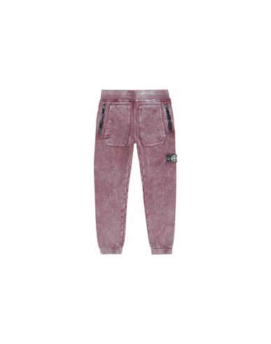 STONE ISLAND KIDS 60941 DUST COLOUR Fleece Trousers Man Dark Burgundy EUR 143