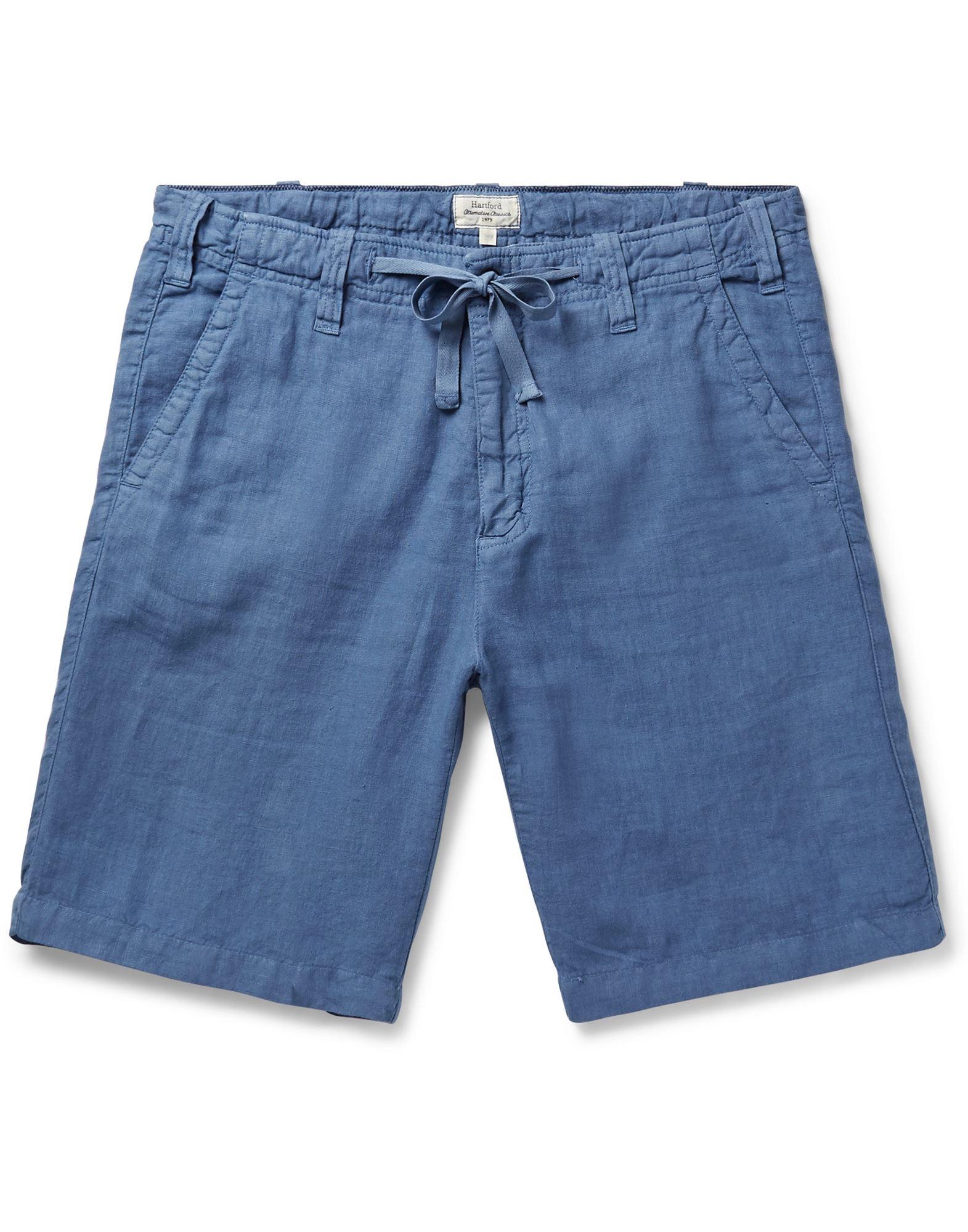 《セール開催中》HARTFORD メンズ バミューダパンツ ブルー 54 リネン 100%