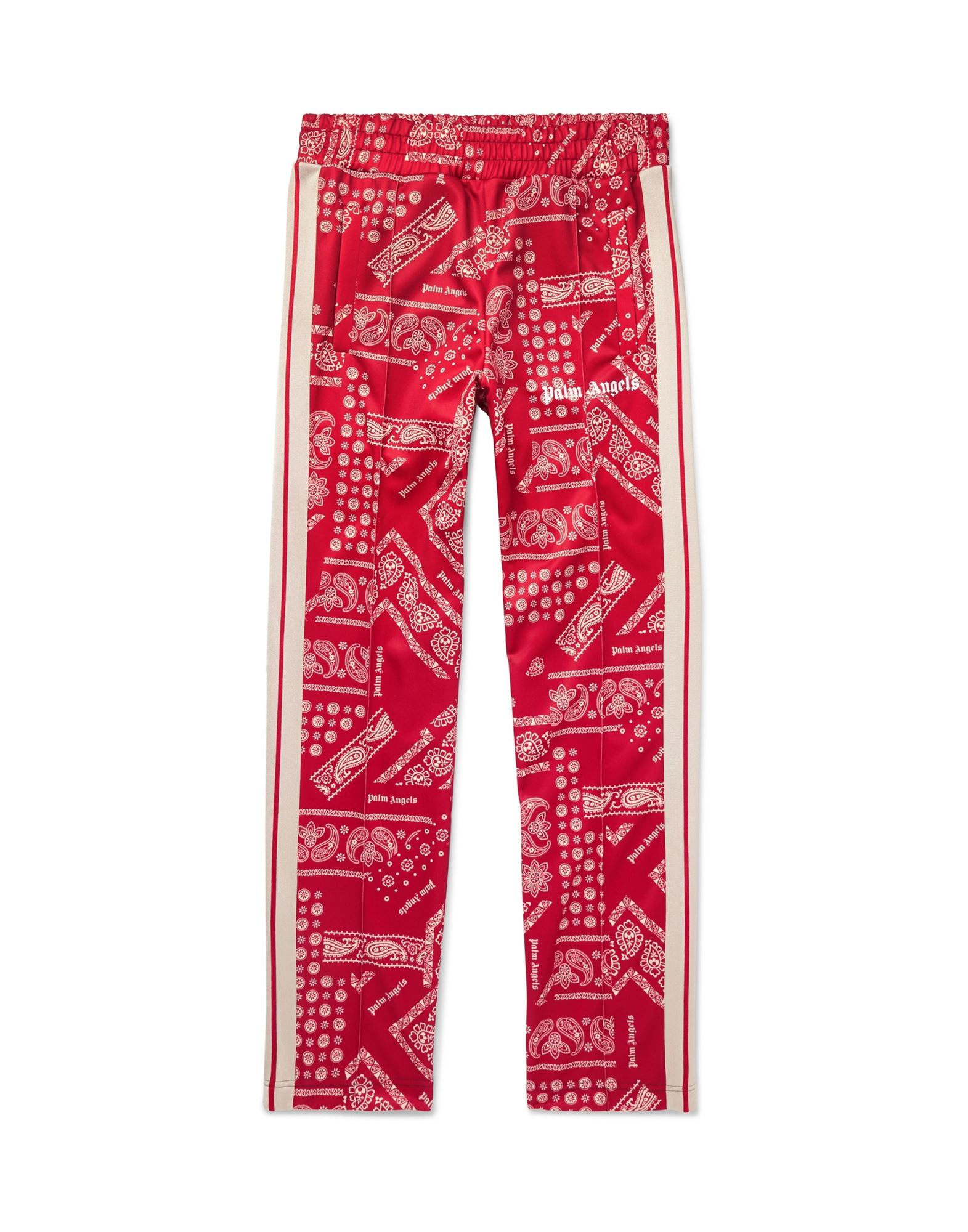 PALM ANGELS Casual pants. jersey, paisley-print, side seam stripes, logo, mid rise, comfort fit, tapered leg, elasticized waist, multipockets, zips at hem. 100% Polyester