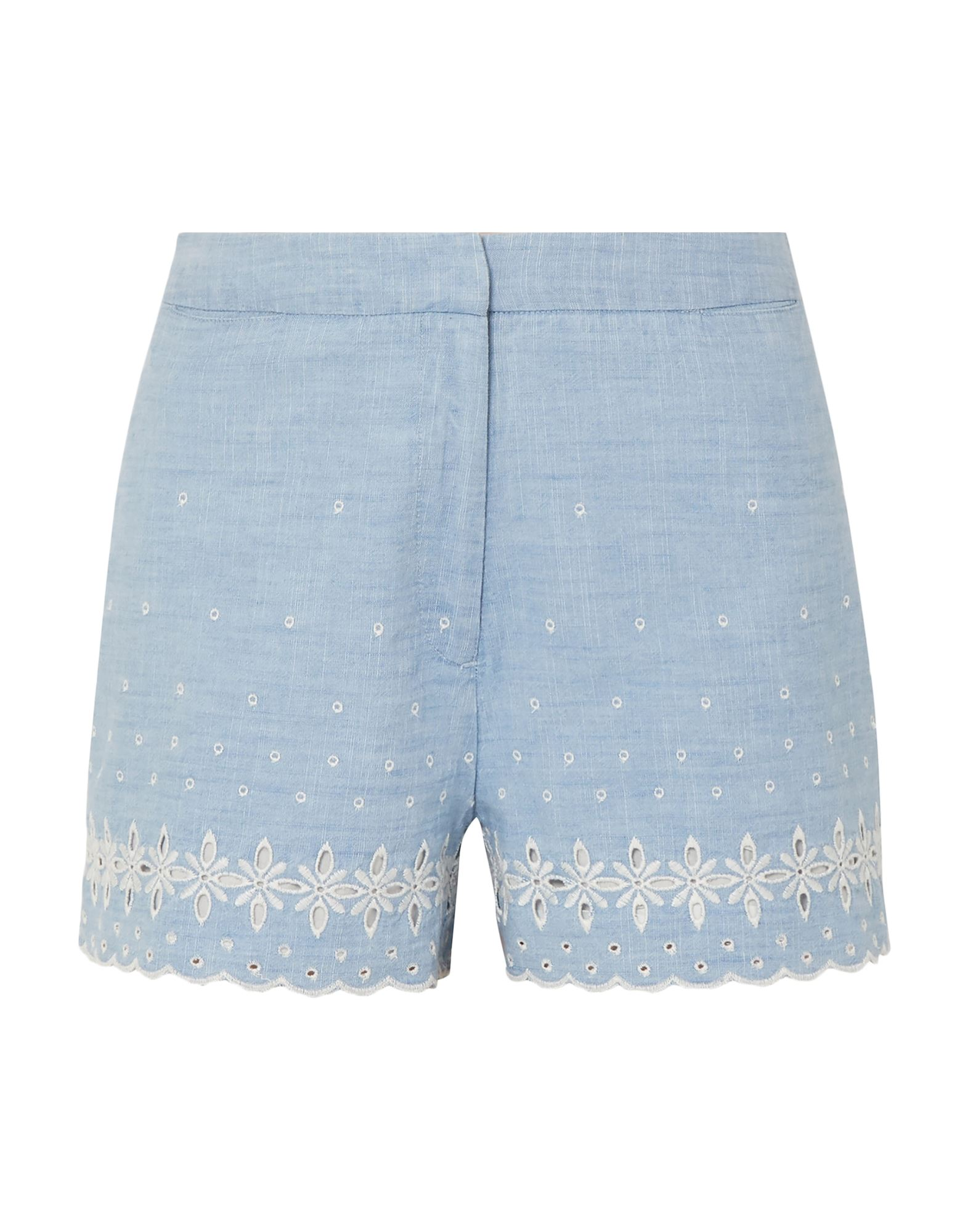 J.CREW Shorts. plain weave, solid color, embroidered detailing, high waisted, regular fit, straight leg, hook-and-bar, zip, multipockets. 100% Cotton