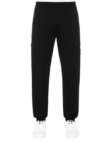 STONE ISLAND 655F3 GHOST PIECE_COTTON STRETCH FLEECE  Pants Man Black USD 395