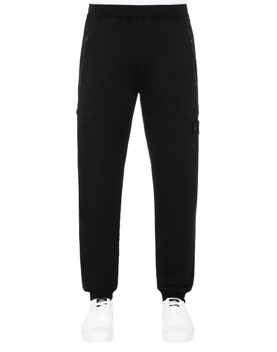 STONE ISLAND 655F3 GHOST PIECE_COTTON STRETCH FLEECE  Trousers Man Black